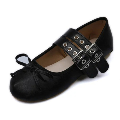 2017 New European and American Ballet Flats Autumn Fashion Punk Metal Buckle Cross Straps Flat Shoes Women Sapato Feminino O1376 - Raja Indonesia