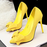 Women Pumps Brand Women Shoes High Heels Sexy Bow Pointed Toe High Heels Ladies Shoes Red