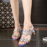 New Summer Sandals Women Peep Toe High Heels Sandals With Crystal Casual Slides Woman Shoes For Lady Sandalias Femininas WSH515 - Raja Indonesia