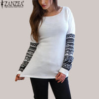 2017 Spring Autumn Women T Shirt Fashion O Neck Printed Long Sleeve Loose T-Shirt Casual Tops Pullover Blusas Plus  Size S-5XL - Raja Indonesia