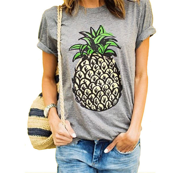 2017 Women New Brand Oversized Casual Summer Designer Grey Round Neck Short Sleeve Printed Plus Size T-Shirt 61320 - Raja Indonesia