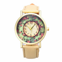 2016 New Floral Printed Women Watches Leather Analog Quartz Dial Wrist Watch Men Casual Girl Dress Reloj Mujer Relojes Hombre - Raja Indonesia