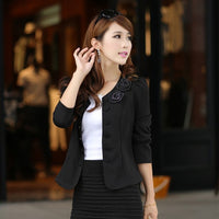2017 Double Breasted Floral Blazer Women Suits Elegant Suit Jacket Casual Blaser Plus Size M-3XL Cape Blazer Mujer  Black/Pink - Raja Indonesia