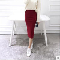 2016 spring Autumn And Winter package hip skirt slit skirts women step skirt stretch Slim thin female waist skirts Long skirts - Raja Indonesia