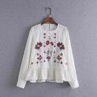 2017 Spring Fashion Women Vintage Flower Embroidery Casual Blouses Hem Ruffle Pleated Tops Feminina Blusas Loose Shirts 2 color - Raja Indonesia