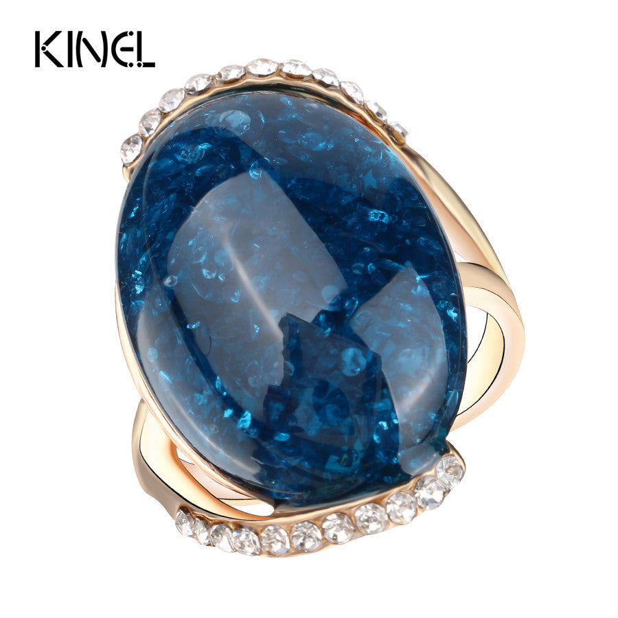 Kinel Rose Gold Plated Rings Blue Long Elliptic Section Turquoise 2017 Engagement Rings For Women Latest Design