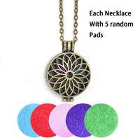1pcs Aroma Diffuser Necklace Open Antique Vintage Lockets Pendant Perfume Essential Oil Aromatherapy Locket Necklace With Pads - Raja Indonesia
