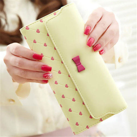 2017 Hot Fashion Long PU Leather Bow Cute Women Girl Purse Wallet ID Card Holders Handbag Wallets High Quality Free ShippingN534 - Raja Indonesia