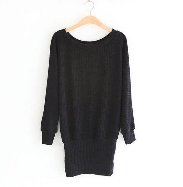 2016 New Women's Black Long Batwing Sleeves Knitting Knitwear Jumpers Pullover Bag-Hip Mini Sweater Dress Casual Tops 2108 - Raja Indonesia