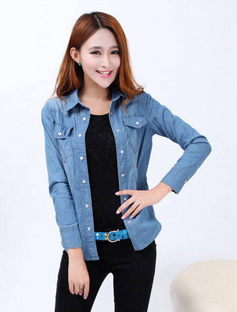 8bb71937803 ... New 2017 Spring Woman Denim Shirts Fashion Style Long Sleeve Casual  Shirt Women 2 Colors Blouses ...