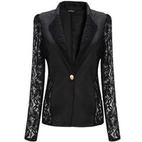 2017 Fashion New Women Spring Autumn Sheer Lace Floral Patchwork Slim OL Formal Blazer Suits Coat Jacket Tops Black White - Raja Indonesia