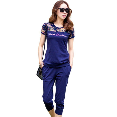 TLZC Lace Patchwork Women Fashion Sets 2 Pieces Lady Clothing Set Large Size M-4XL 2016 Summer Women Casual Suits Tops + Pants