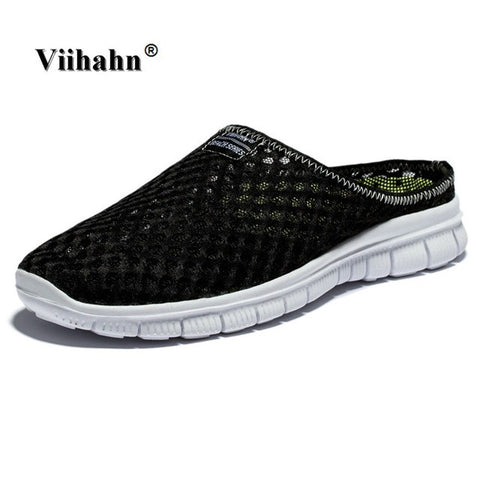 Viihahn Men's Slippers Casual Shoes Flat Sandals Breathable Mesh Shoes Beach Aqua Anti-Slip Outdoor Walking Shoes Plus Size 46