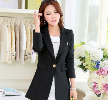 2016 New Women Fashion Spring Autumn One Button Long Suit Elegant Women Blazer Female Jacket H5E8K40 - Raja Indonesia