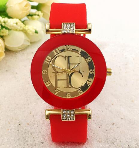 2015 New Fashion Brand Gold Geneva Casual Quartz Watch Women Crystal Silicone Watches Relogio Feminino Dress Wrist Watch Hot - Raja Indonesia