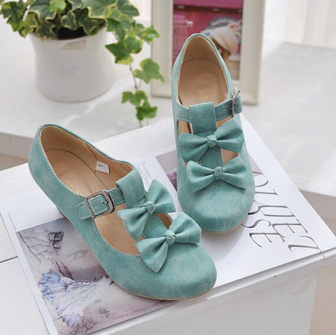 LIN KING Summer Size 34-39 Women Sweet Bow Lolita Low Heel Dress Shoes Princess Pumps Student Party Shoes Round Toe Ladies Pumps - Raja Indonesia