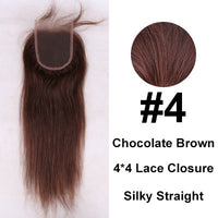 7A Grade 4*4 Virgin Peruvian Hair Silky Straight Lace Closure 100% Unprocessed Human Hair Free/Middle/Side/3 Part Lace Closures - Raja Indonesia