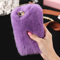 5S 6S 7 Plus Bling Rhinestone Real Rabbit Fur Cover For iPhone 5 5S SE 6 6S Plus 7 Plus Soft Fluffy Shockproof Phone Case Coque - Raja Indonesia