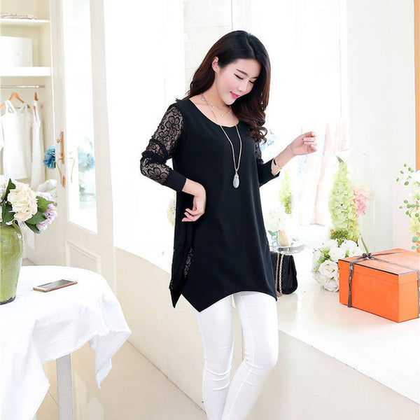 2016 Shirt Women For Work and Casual Women Blouses O-neck Plus Size 5XL Blusas Patch Lace Blouse Long Sleeve Female Shirts D5002 - Raja Indonesia