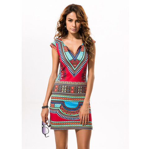 2017 Sexy Women Summer Raditional African Print V-Neck Dress Bodycon Casual Dresses Short Sleeve Vestidos Dashiki Beach Dress - Raja Indonesia