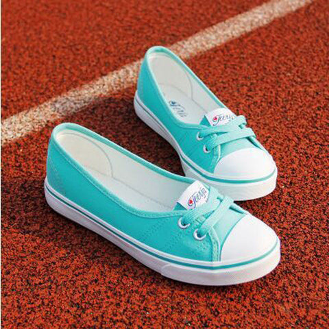 2016 New Women Casual Shoes Candy Colors Round Toe Flat with Shoes Fashion Canvas Lace-Up Solid Breathable Shoes Woman 011 - Raja Indonesia