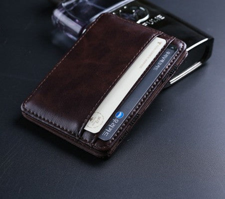 2017 New arrival High quality leather magic wallets Fashion men money clips card purse 2 colors - Raja Indonesia