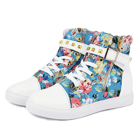 Floral High Top Shoes Women Canvas Shoes Lace Up Brand Ladies Shoes Casual Women Trainers 2015 - Raja Indonesia