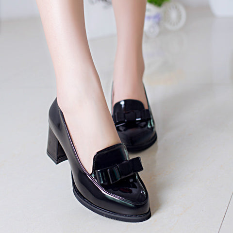 2016 Fashion shoes woman  high heels women shoes platform wedding shoes pumps bowtie shallow mouth block heels shoes X318 - Raja Indonesia