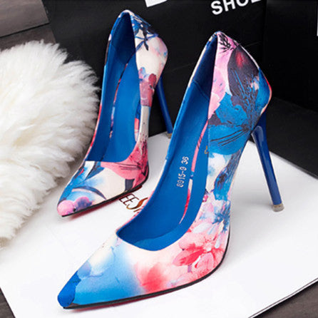 2017 Sexy Brand Women Pumps Beautiful Floral Women OL High Heels Shoes Pointed Toe High Quality Shoes X1106 35 - Raja Indonesia