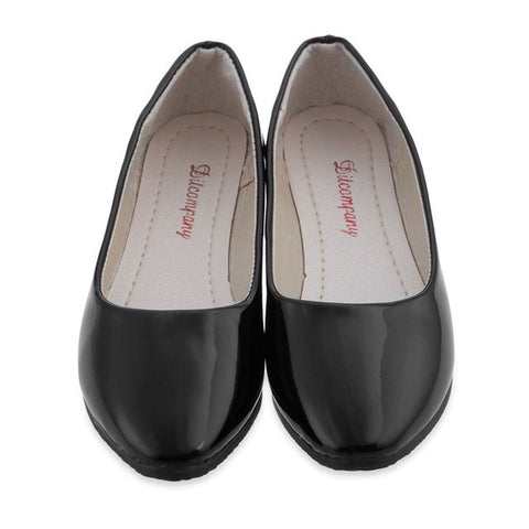 2016 New Arrival Vintage Casual Lady Black Solid Color Patent Leather Flat Shoes Brief Spring Gloss Women Flat Shoes - Raja Indonesia