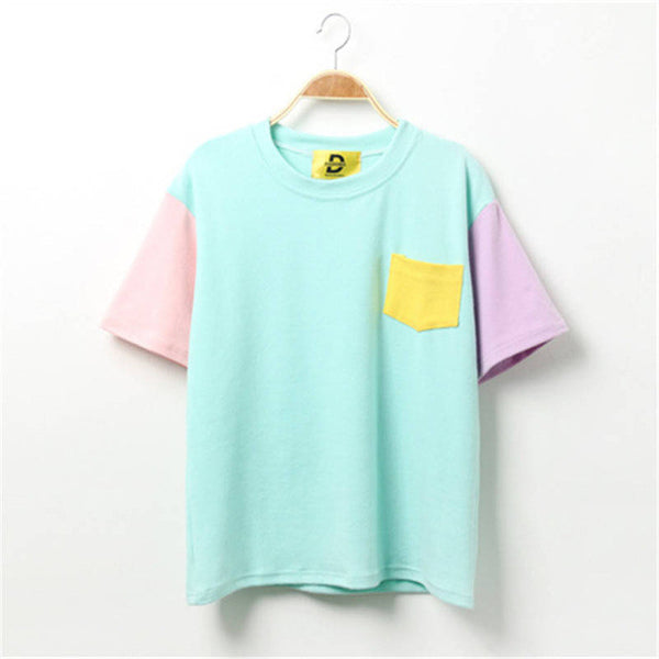 2016 Summer Style Fashion Women Harajuku Patchwork T Shirts Kawaii Cotton Short Sleeve Casual Tee Ladies Cute Tops 3SHWT007 - Raja Indonesia