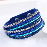 2015 New Leather Bracelet Rhinestone Crystal Bracelet Wrap Multilayer bracelets for women pulseras mulher Jewelry - Raja Indonesia