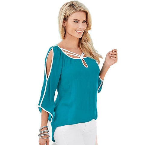 2016 Spring Summer Woman Chiffon Solid Shirt Casual irregular Blouses Loose Tops - Raja Indonesia