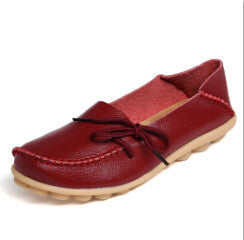 Women Genuine Leather Mother Shoes Moccasins Women's Soft Leisure Flats Female Driving Shoes Flat Loafers big plus size 35-43