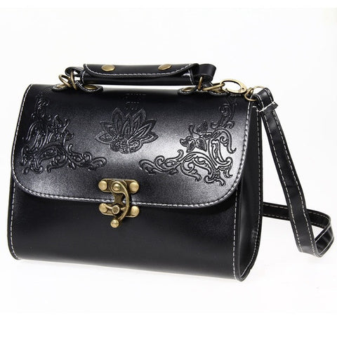 Retro Women Messenger Bags Lock Leather Handbags Ethnic Style Shoulder Bag Vintage Designer Crossbody Bags Bolsa Femininas