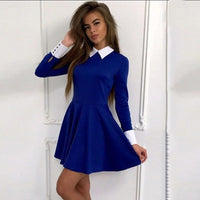 2017 Dress Women Fashion Women Turn-Down Collar Casual Dresses Elegant Long Sleeve Blue Autumn Dress Feminine Vestido LJ5631C - Raja Indonesia