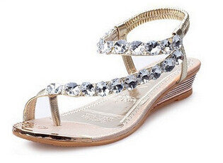 HEE GRAND Summer Sandals Bling Rhinestone Flats Women Platform Wedges Sandals Fashion Flip Flops Comfortable Shoes Woman XWZ791 - Raja Indonesia