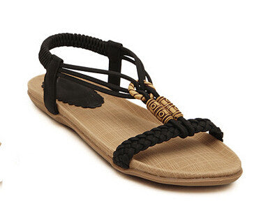HEE GRAND Beach Bohemia Women Sandals Open Toe Flat Shoes Cross Strap Female Ladies Shoes Soft With Elastic Band XWZ633 - Raja Indonesia