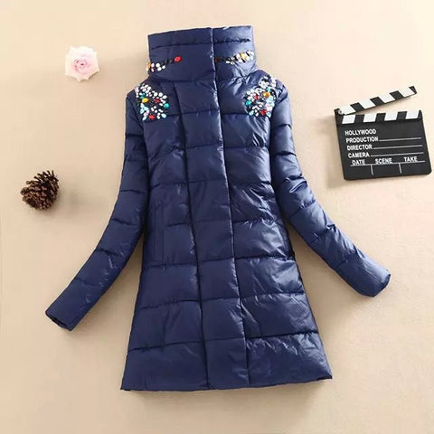 2016 winter jacket women fashion slim medium-long coat parka female diamond outerwear women down cotton-padded jackets and coat - Raja Indonesia