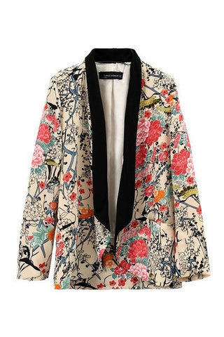 2016 spring autumn wholesale retro vintage Oriental birds flowers floral print long sleeve long blazer jacket real photo - Raja Indonesia
