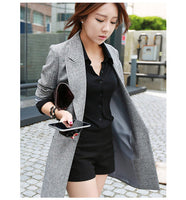 2017 Hot Selling  Spring Women Casual Long Thin Blazers Coats Notched Collar Full Sleeve Single Button Fashion Cardigans   Y99 - Raja Indonesia