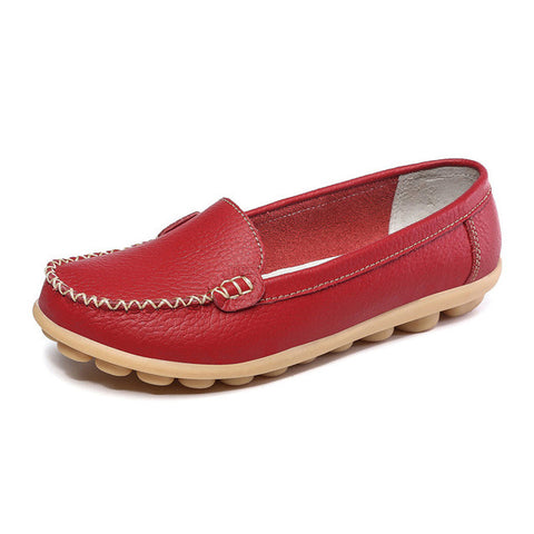 New Summer Shoes Women Genuine Leather Mother Shoes Flat Heels Women's Flats Female Casual Shoes Woman Plus Size EU35-42 WSH2003 - Raja Indonesia