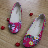 ABB Colorful Printing Women Flats Lady Rose Pointed Toe Slip-On Canvas Loafers Shoes Plus Size 40 41 42 Female Casual Flat Shoes - Raja Indonesia