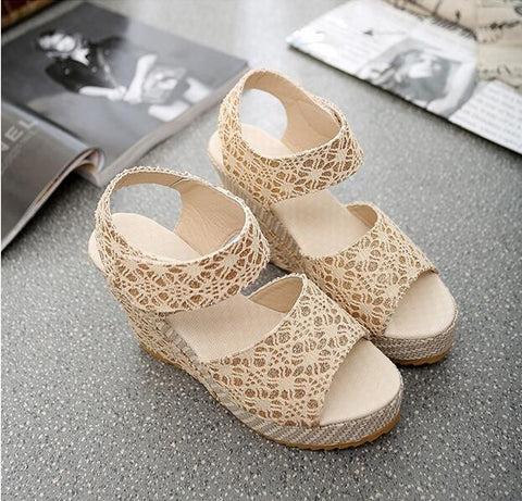 2017 New Women Sweet Buckle Open Toe Wedges Sandals Women's Platform Sandals Fashion Summer Shoes Women Casual Shoes High-heeled - Raja Indonesia