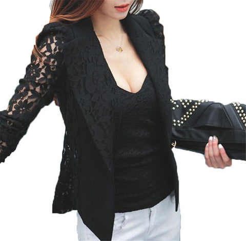 2017 Spring Autumn New Fashion Women Sheer Lace Floral Patchwork Slim OL Formal Blazer Coat Black White Suits Jacket Tops - Raja Indonesia