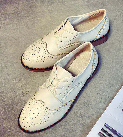PU Leather Women Flats Shoes Moccasins Ballet Flats Woman Designer Vintage Flat Shoes Round Toe Creepers Oxford Shoes For Women - Raja Indonesia