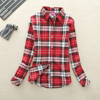 2017 Hot Sale Autumn Winter Ladies Female Casual Cotton Lapel Long-Sleeve Plaid Shirt Women Slim Outerwear Blouse Tops Clothing - Raja Indonesia