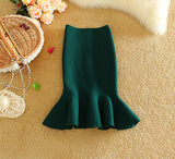 2016 New Spring Knitting Fish Tail Skirt Women Fashion knit Package hip midi Short skirt High Waist Flounced Skirts Women Saias - Raja Indonesia