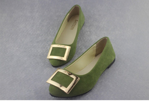 2016 Spring new solid color woman square metal buckle flat shoes pointed toe casual soft shoes CXD-C-3FK - Raja Indonesia