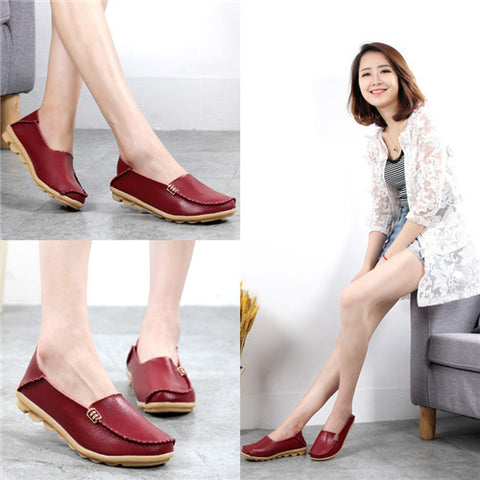 Fashion women casual shoes spring women Flats solid color loafers mother leather shoes Slip on female flats ladies 2017 SRT432 - Raja Indonesia